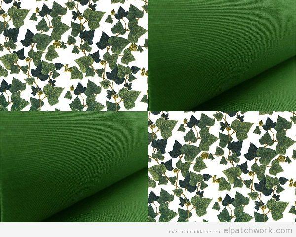 Patchwork loneta estampado hojas