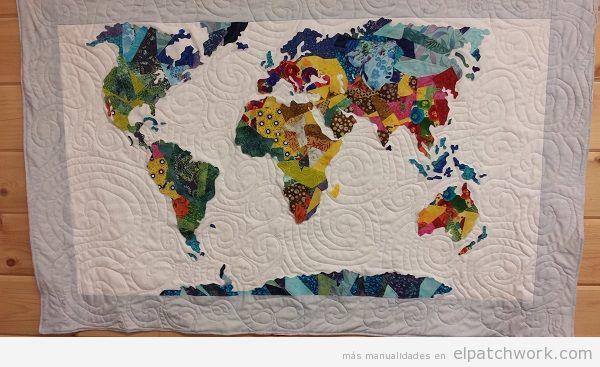 Quilt mapa mundi de patchwork 3