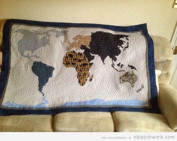 Quilt mapa mundi de patchwork