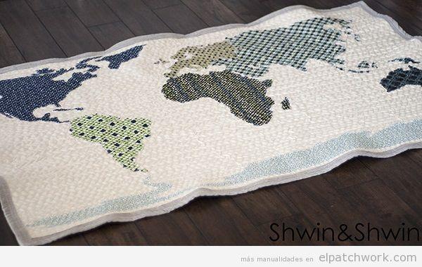Quilt mapa mundi de patchwork 2