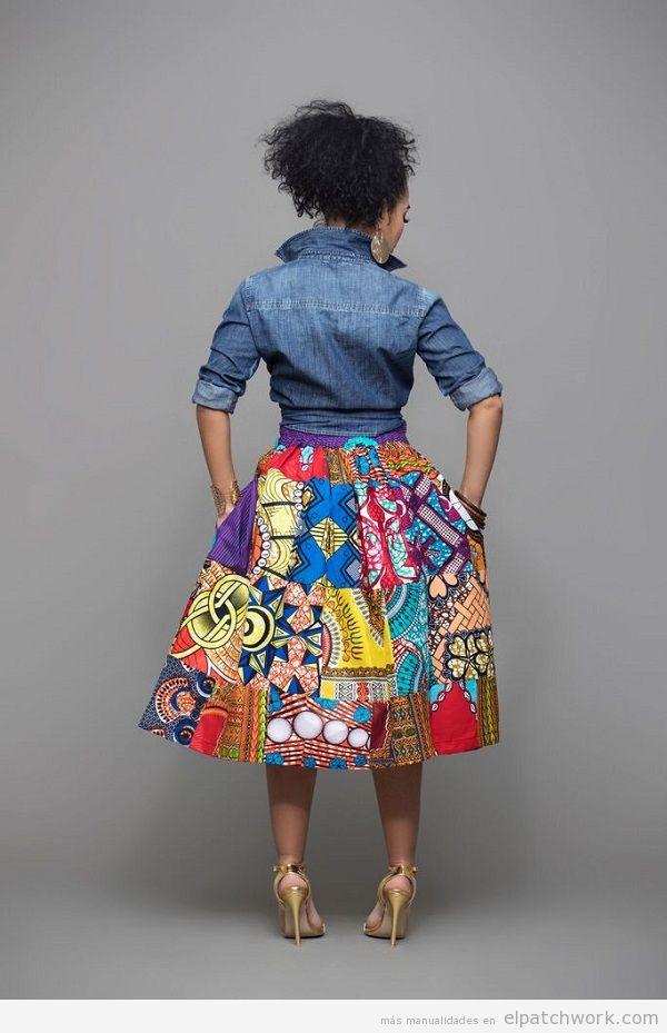Falda de patchwork midi