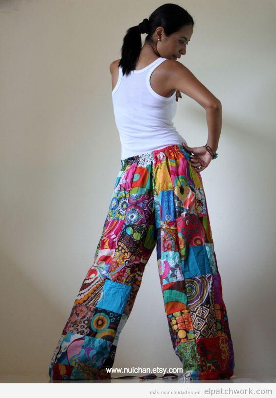 Pantalones patchwork