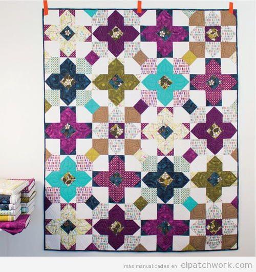 Colcha patchwork patrón prairie flower o flor de la pradera 3