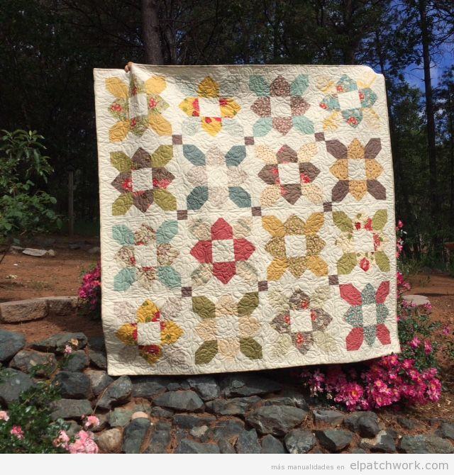 Colcha patchwork patrón prairie flower o flor de la pradera 2