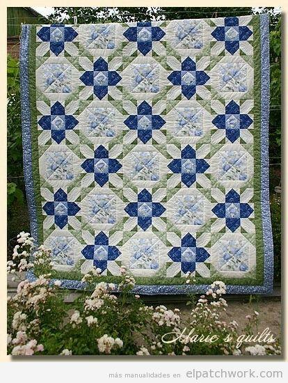 Colcha patchwork patrón prairie flower o flor de la pradera