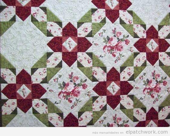 Colcha patchwork patrón prairie flower o flor de la pradera 2Colcha patchwork patrón prairie flower o flor de la pradera 6