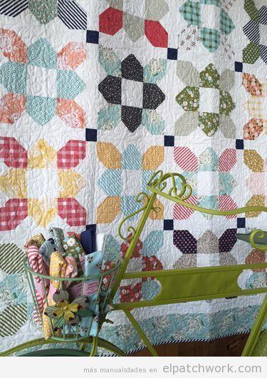 Colcha patchwork patrón prairie flower o flor de la pradera 4