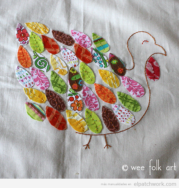 Aplique patchwork pavo