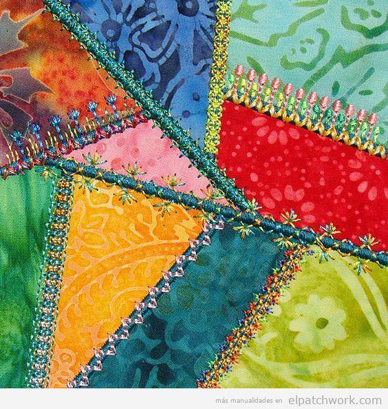 Tipo costura remalladora patchwork, bordados