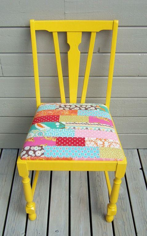 Silla tapizada con patchwork